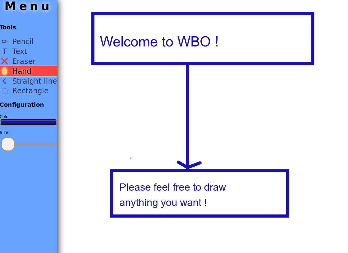 Screenshot of WBO's user interface