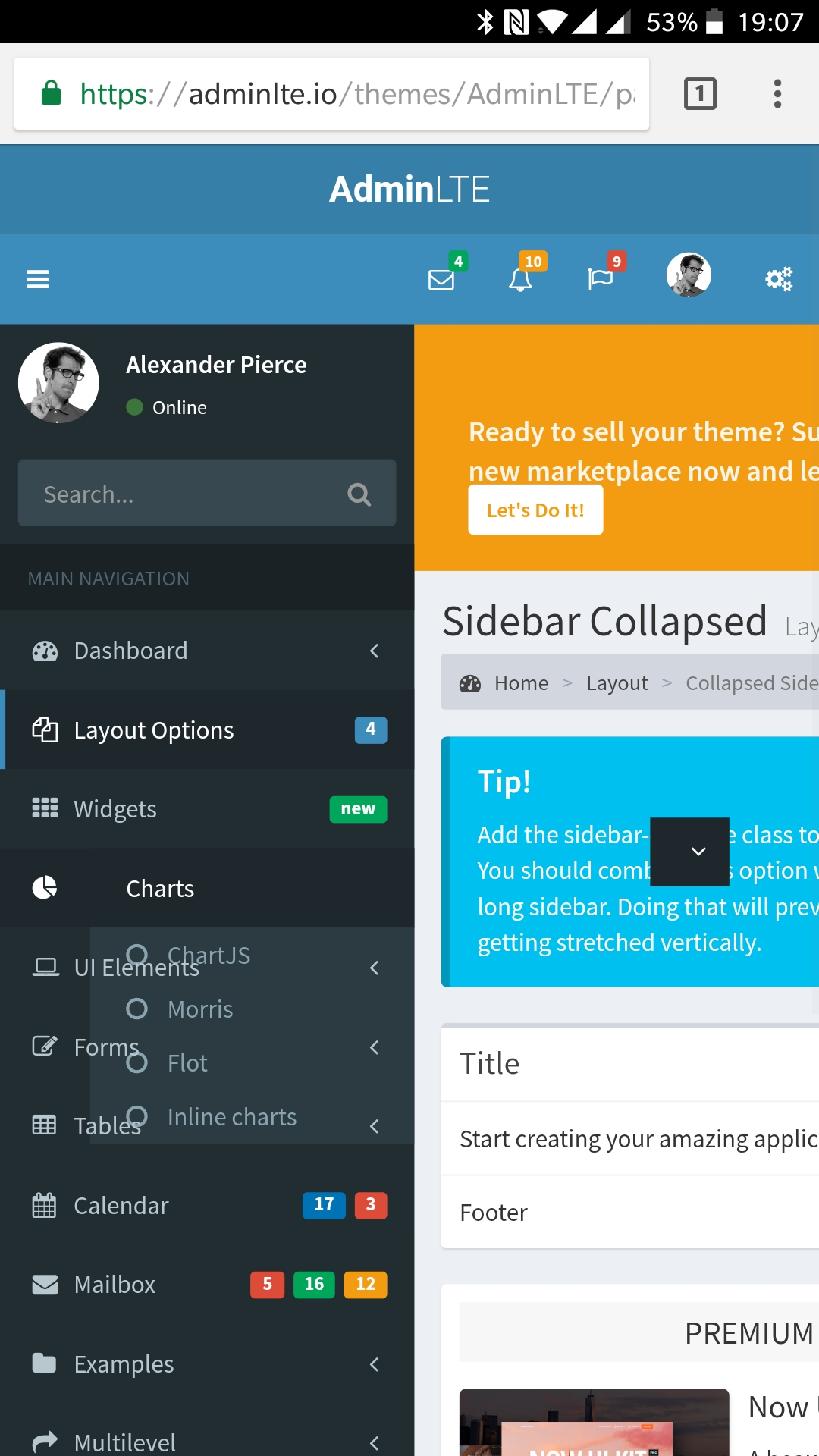 Collapsed SideBar Layout bugs on mobile device · Issue #1720