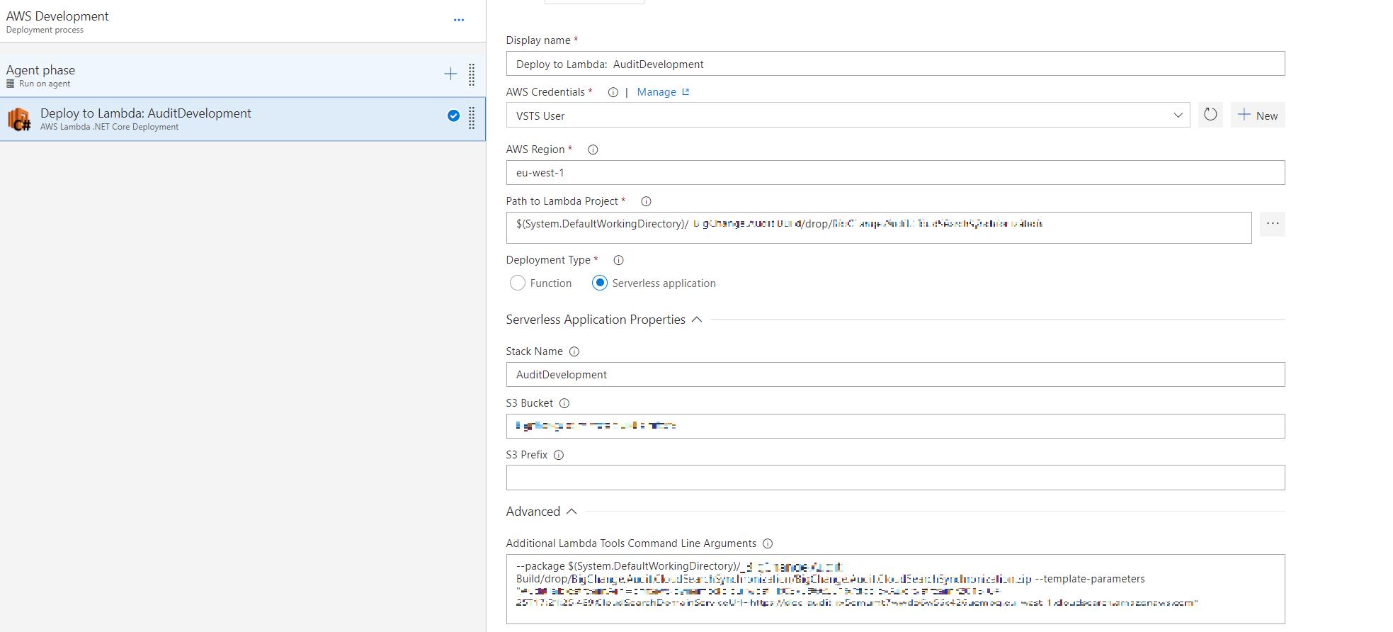 Error while running AWS Lambda  NET Core Deployment Task