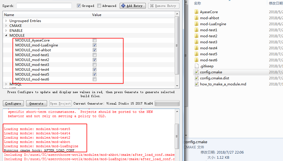 Developers - add a config file: modules/config cmake dist -