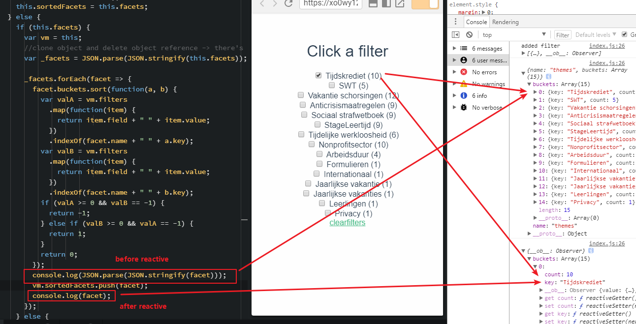 Chrome - sorting order of array changes after it gets
