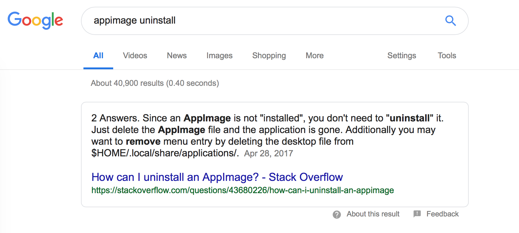Uninstalling on Ubuntu 18 04 LTS (having installed from AppImage