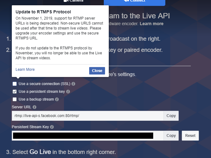 RTMPS support for Facebook Live API's Upcoming Requirement · Issue