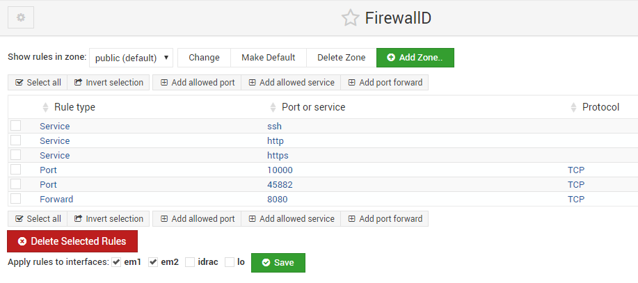FirewallD module show only 6 rules · Issue #895 · webmin/webmin · GitHub