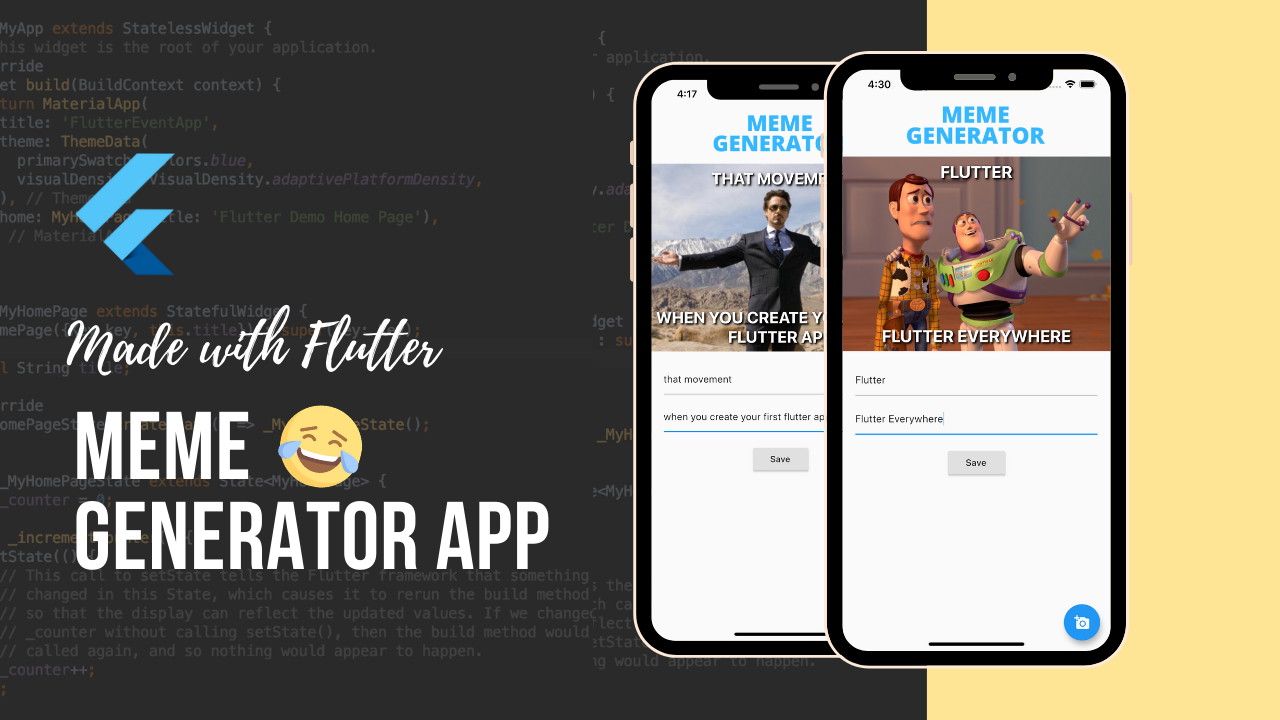 how to make meme generator app with flutter by theindianappguy