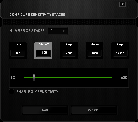 Configuring levels of sensitivity for Deathadder mouse