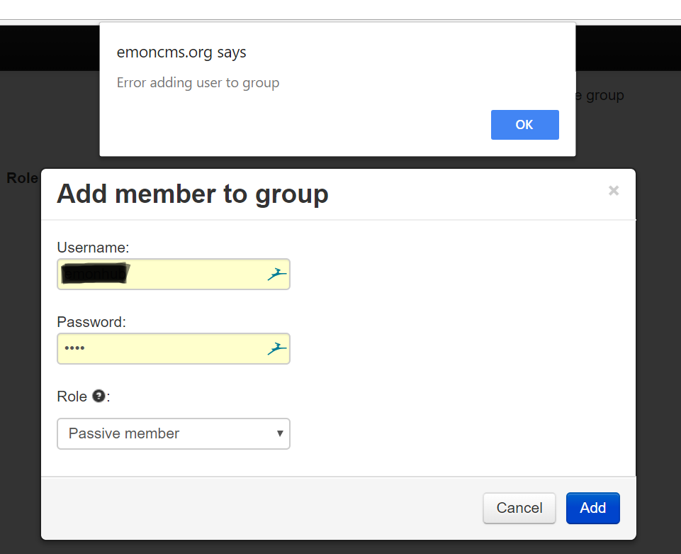 Unable to add users to new groups on emoncms org · Issue #37