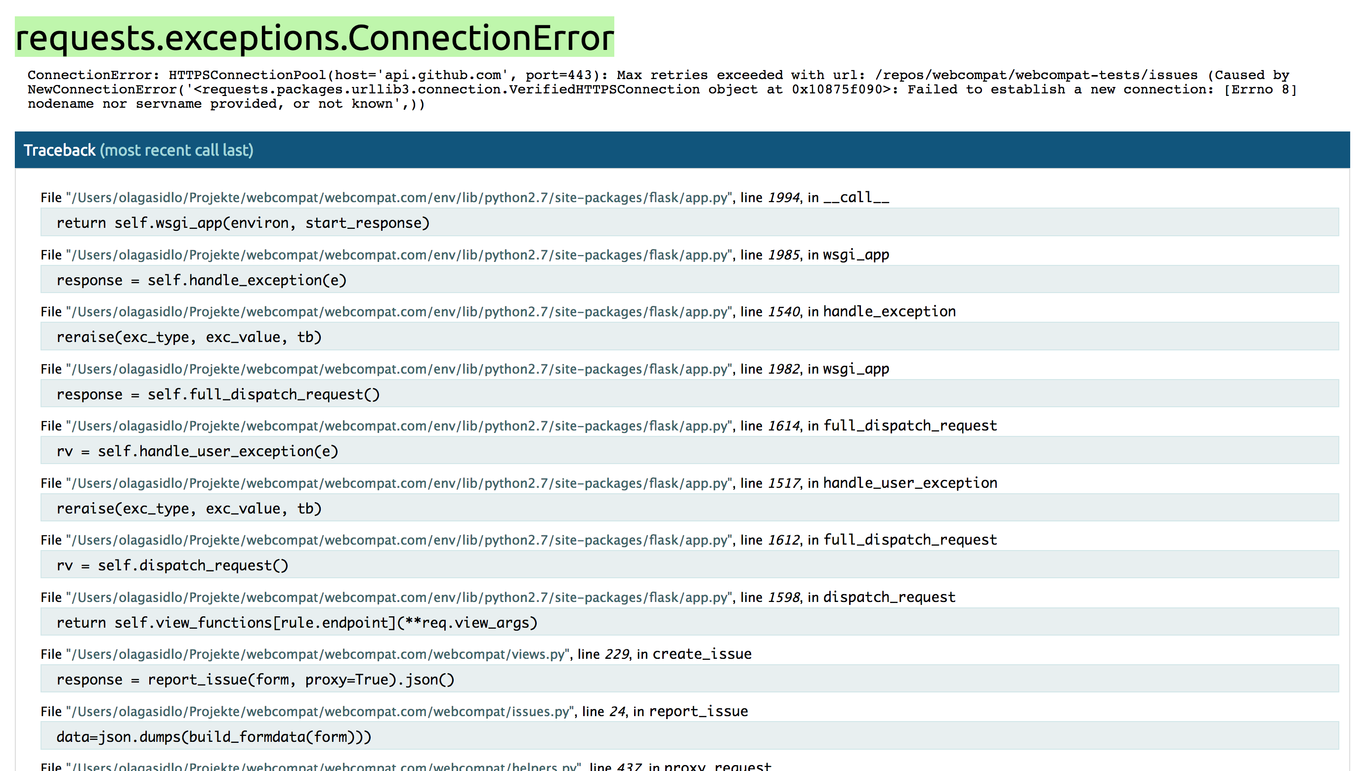 Catch `requests exceptions ConnectionError` when submiting
