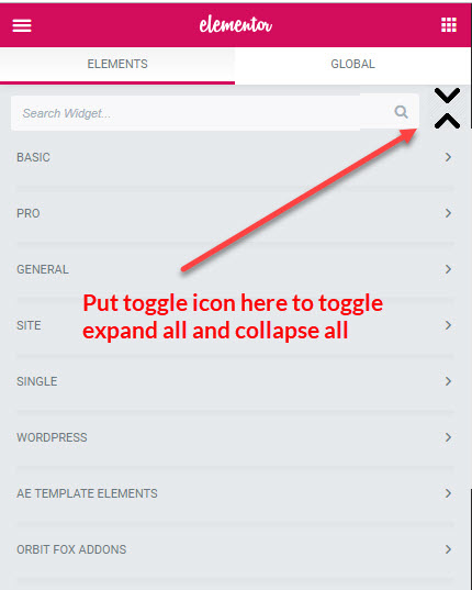 Add toggle button to collapse all, expand all Elementor
