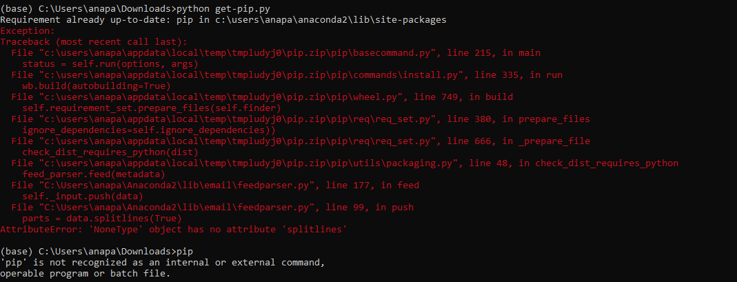 pip install fails with AttributeError: 'NoneType' object has