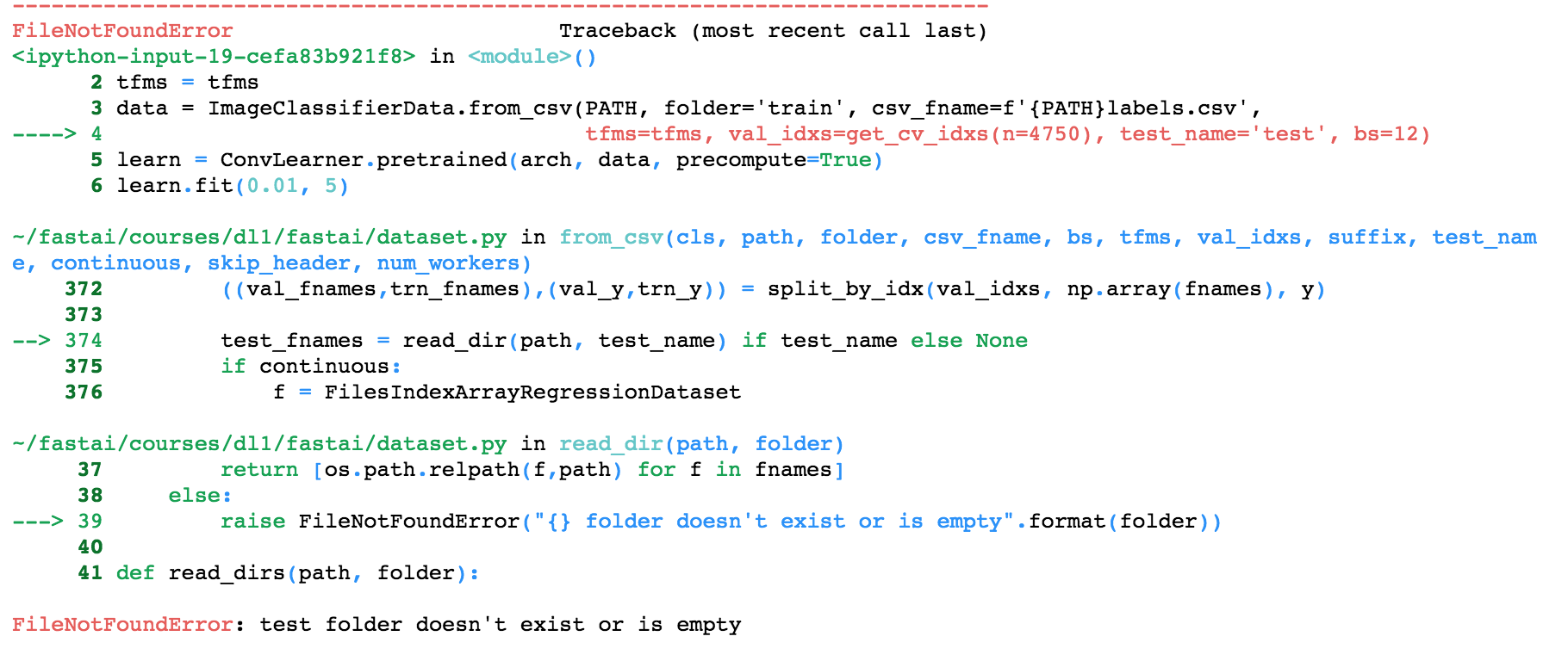 Raise an error if test_name='test' but the test folder is empty or