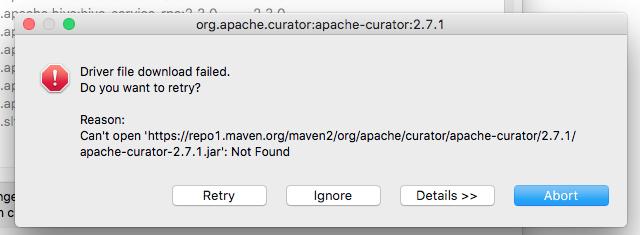 Hive] Driver downloads fail · Issue #2349 · dbeaver/dbeaver · GitHub