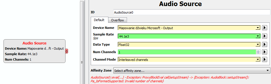 Windows 7 Audio Source: Invalid number of channels · Issue