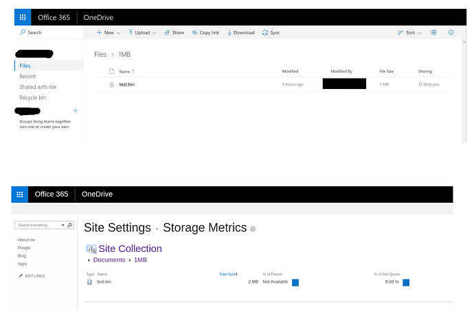 OneDrive for Business uses 2x the space · Issue #1716