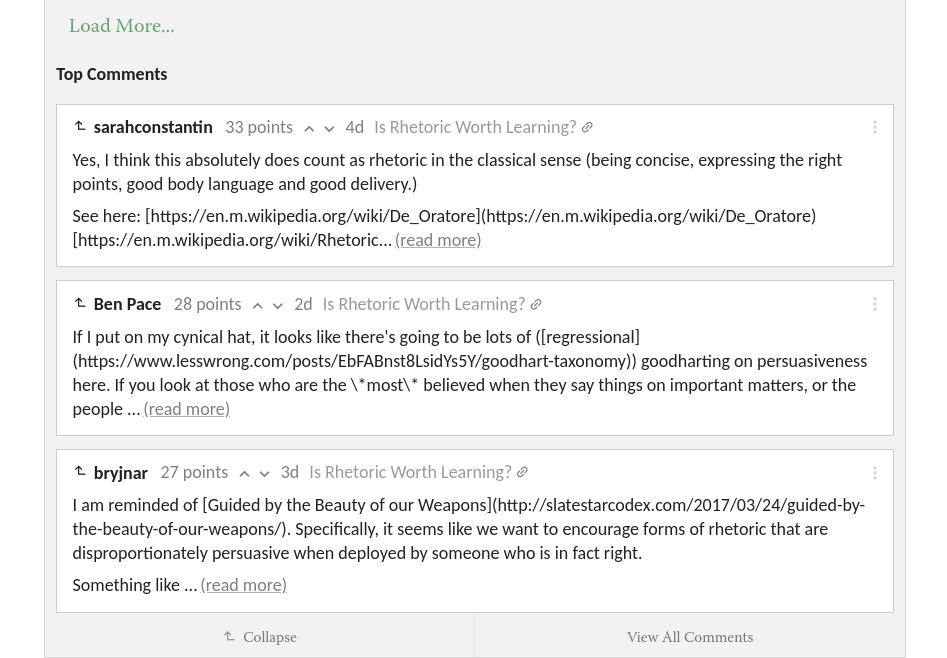 recent top comments are not formatted with markdown � issue 523jessica taylor commented on apr 11, 2018