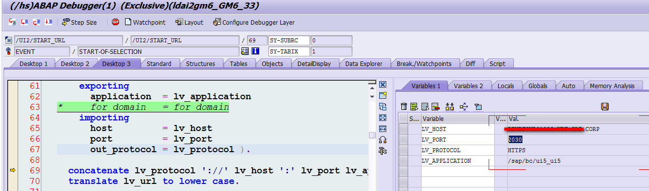 how is Fiori launchpad host name and port number determined
