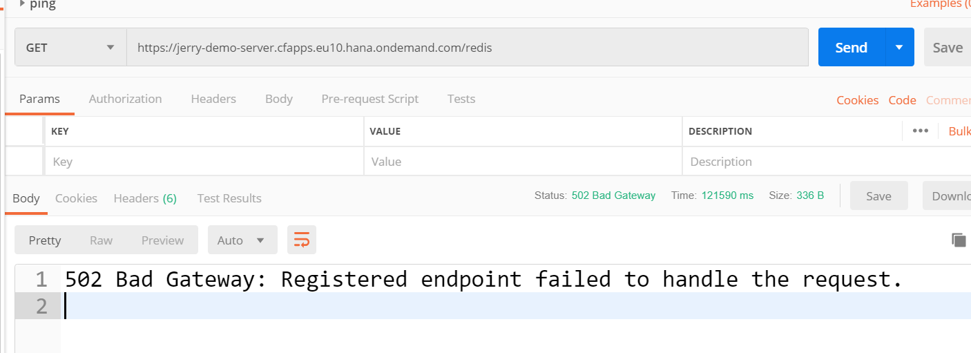 502 Bad Gateway Registered endpoint failed to handle the