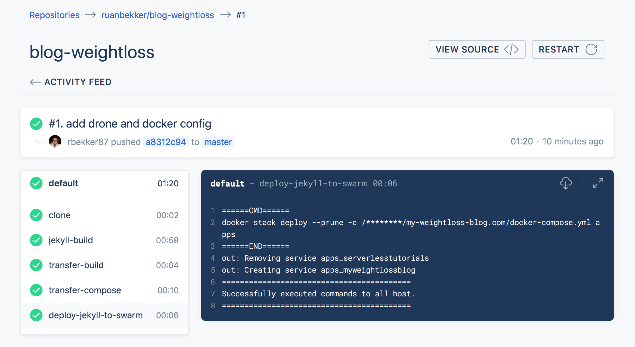 Using Drone CI to Build a Jekyll Site and Deploy to Docker