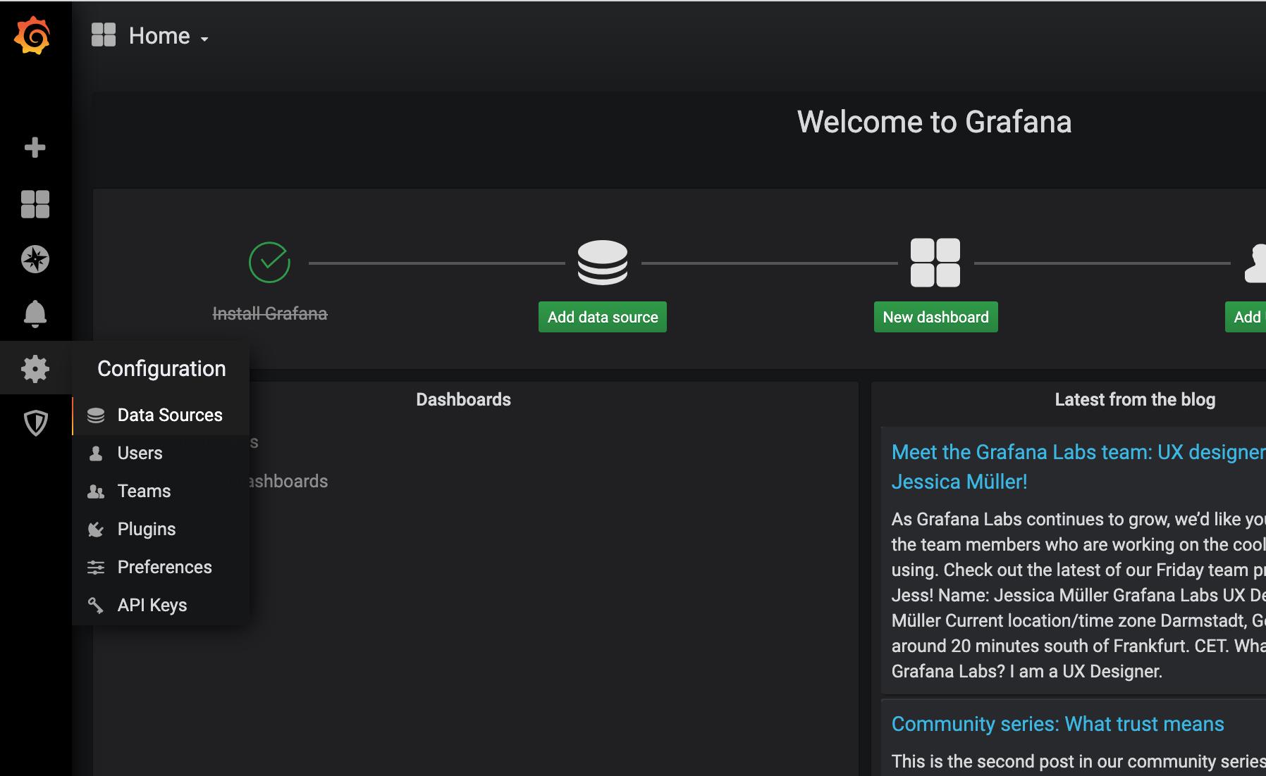 access-grafana-home-page