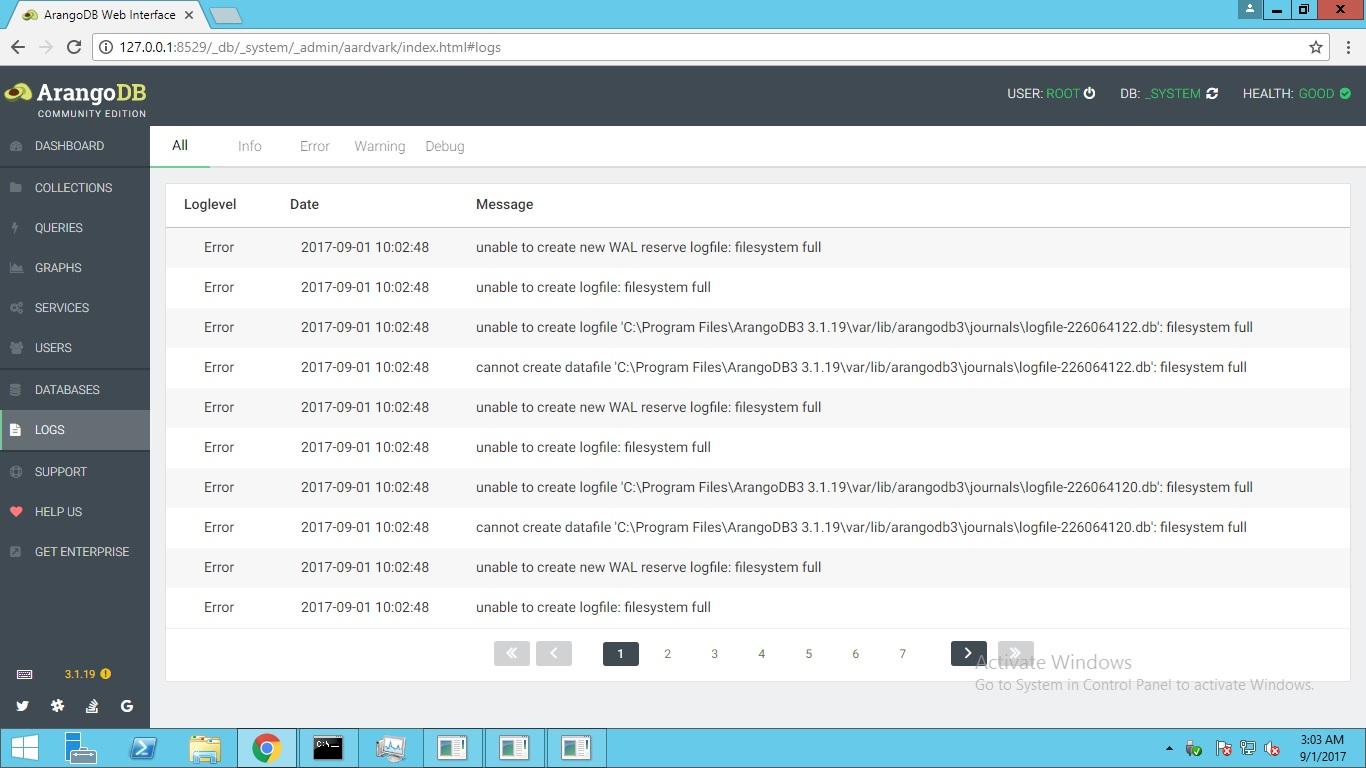 error filesystem full when creating vault when having lots