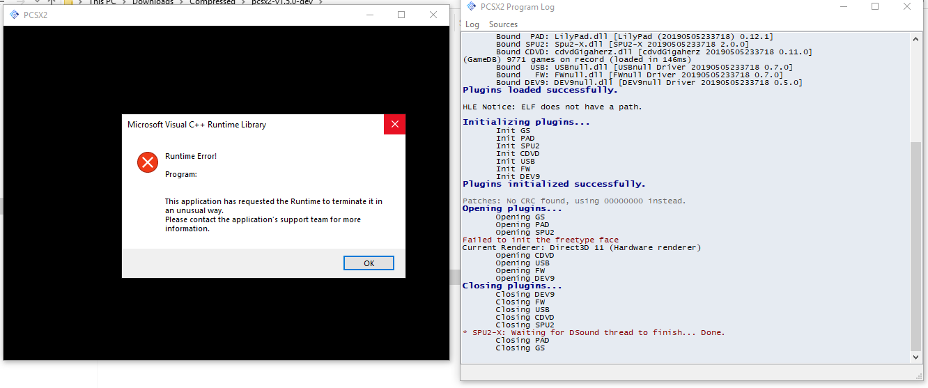 Regression after build 2795: Visual C++ Runtime error when choosing