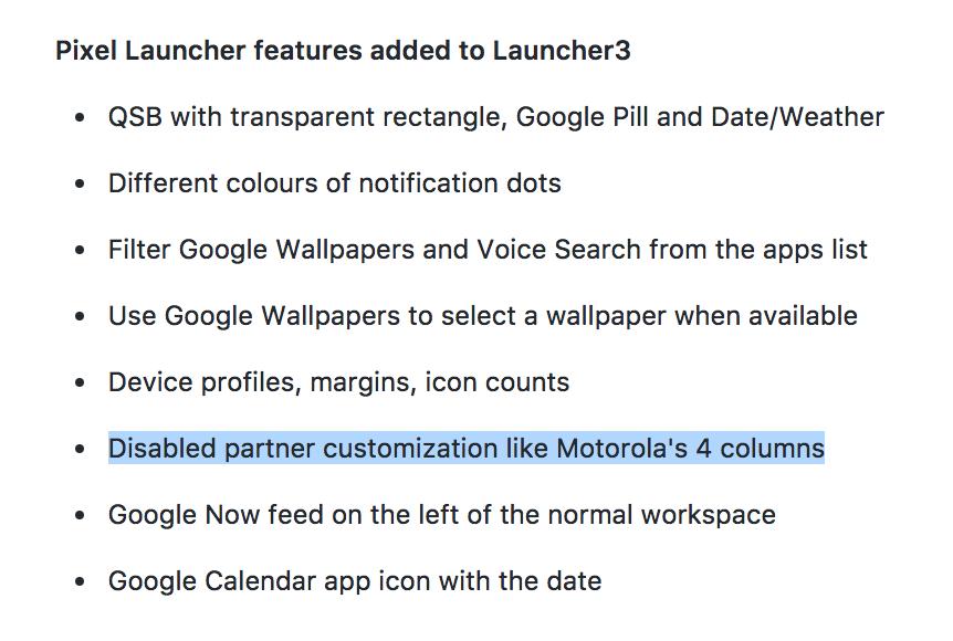 Not Disabled partner customization like Motorola's 4 columns · Issue