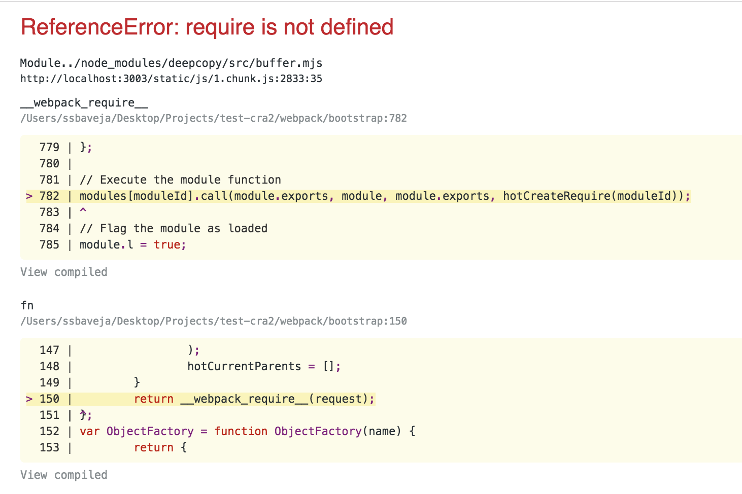 ReferenceError: require is not defined (create-react-app v2 0