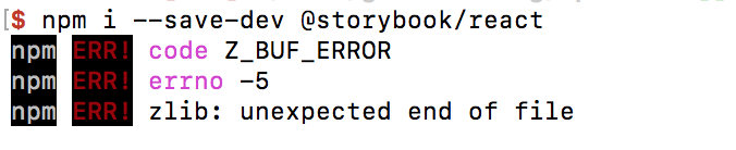 Unable to install with npm i --save-dev @storybook/react on mac