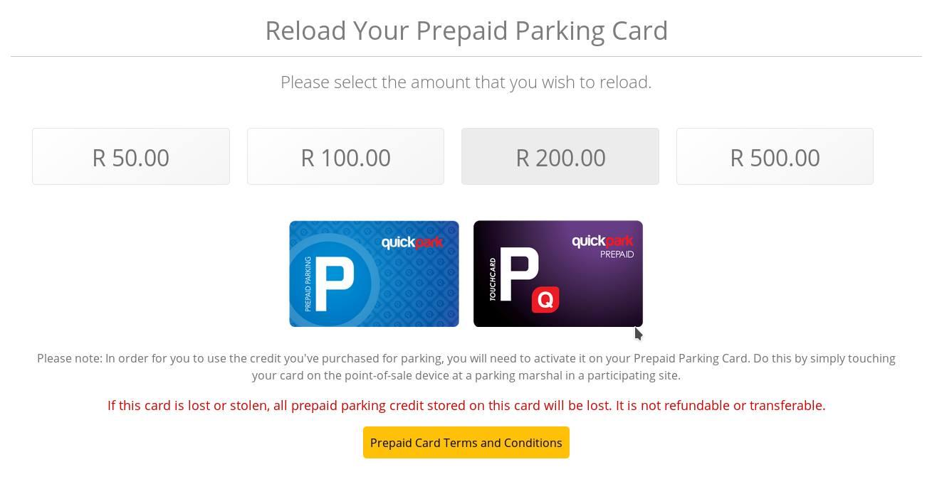 parking preepaid cards