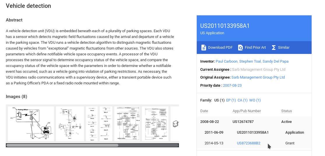 patent 2 vehic detect