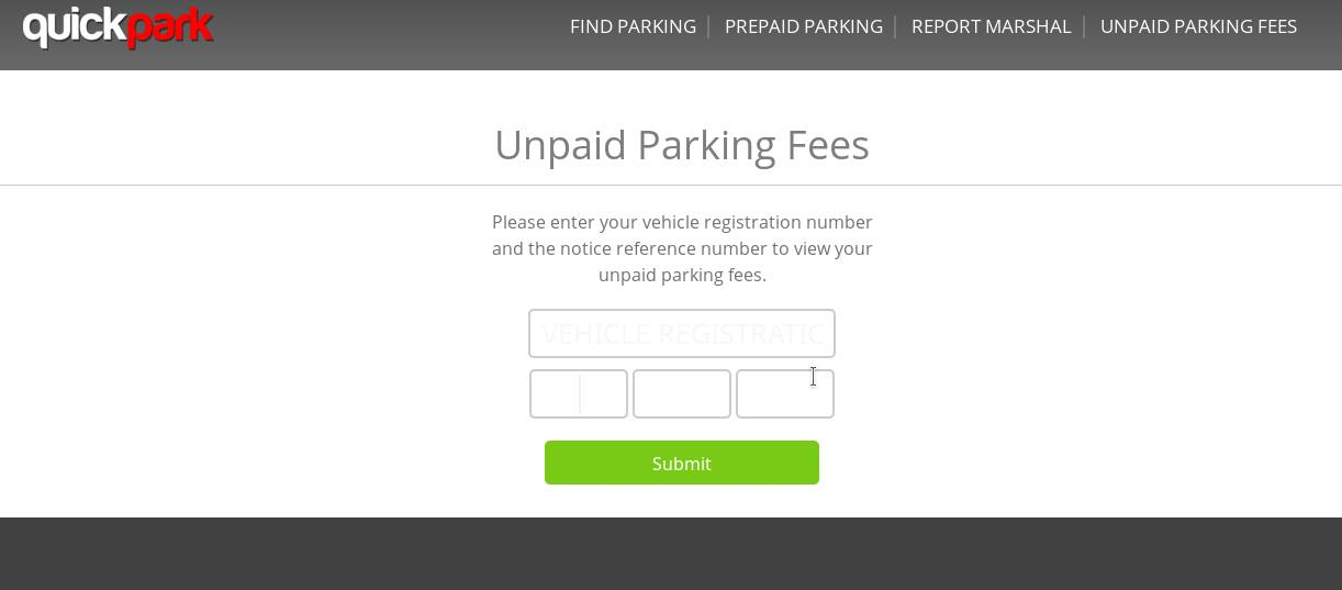 unpaid parking fees page