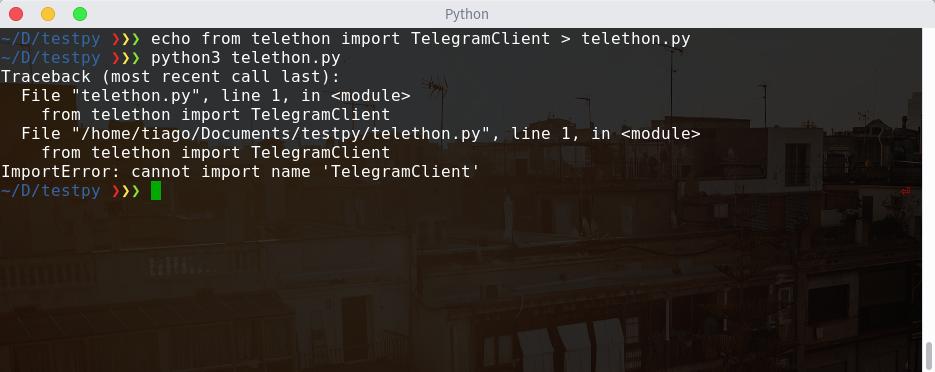 ImportError: cannot import name 'TelegramClient' · Issue