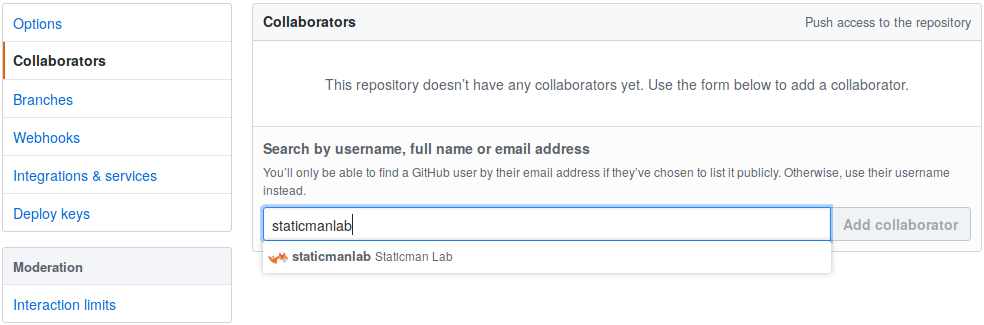 Adding staticmanlab to the Site's GitHub Repository