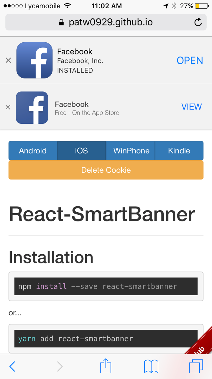 iOS native smart banner shows on top of this smart banner