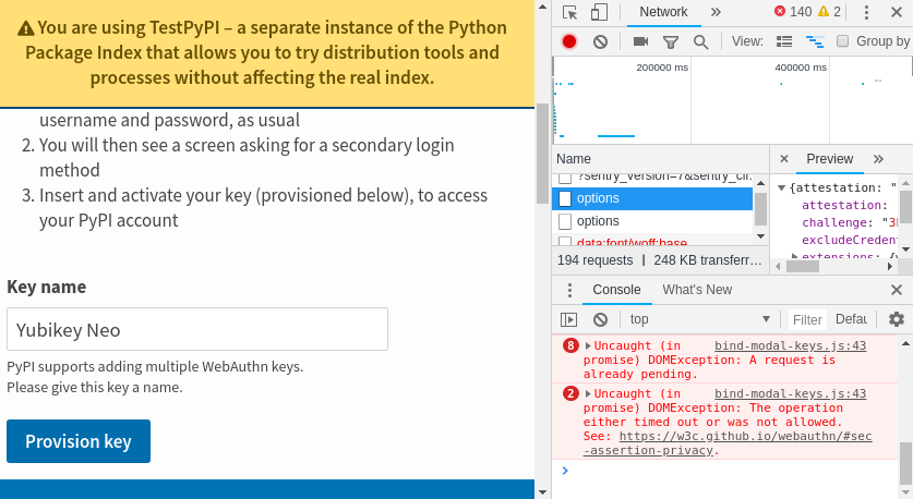 WebAuthn failing in Chrome for incompatible versions & on