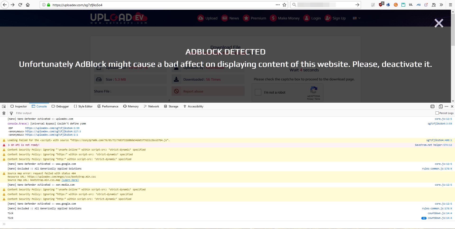 Anti-adblock] uploadev com · Issue #274 · NanoAdblocker