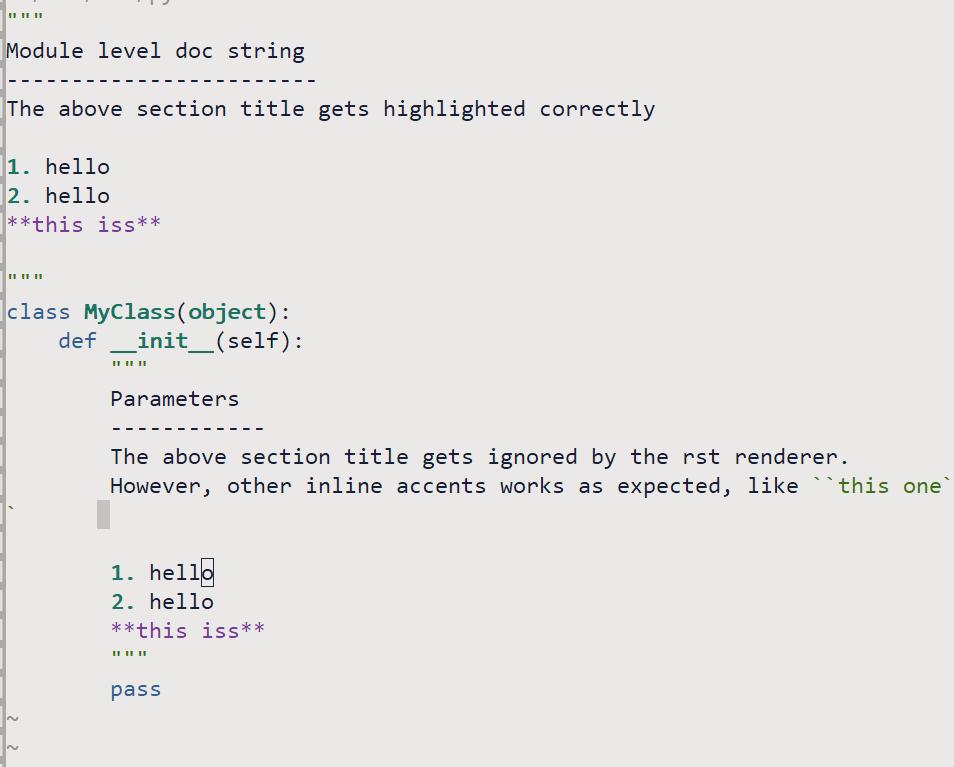 let g:riv_python_rst_hl=1` does not highlight section title