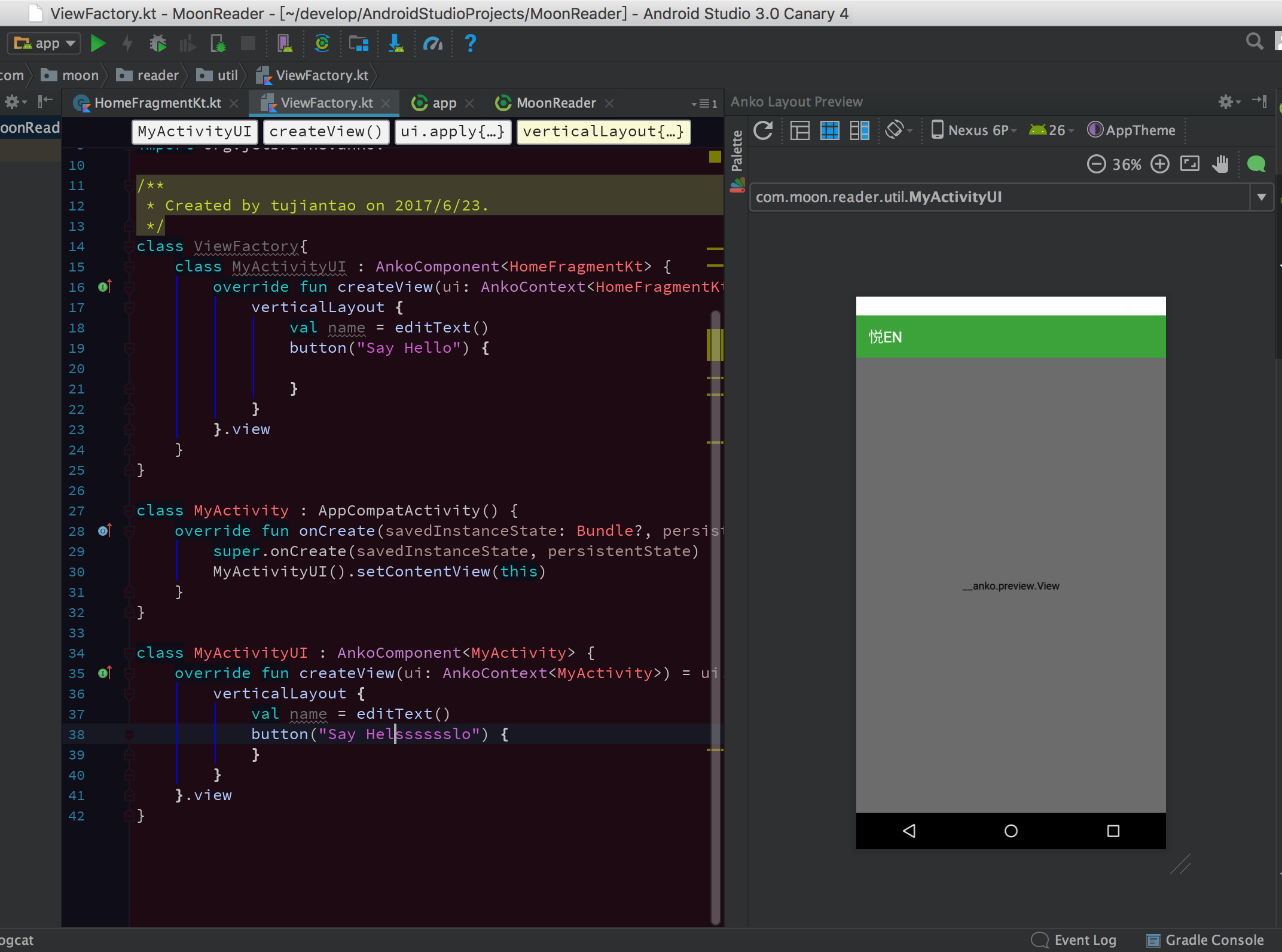 android studio preview greyed out