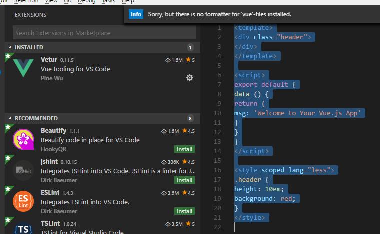 vs code, code formatting is not working  · Issue #622 · vuejs/vetur