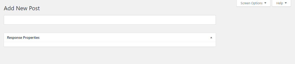 WordPress post editor only displaying title box and empty response properties box