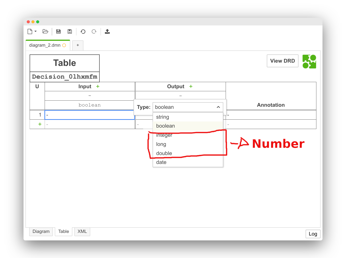 Simplify numeric type selection in DMN table · Issue #1327