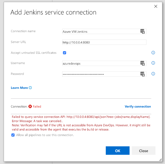 Cannot add Service connection from Azure DevOps to local