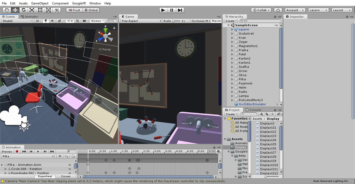 Interfejs graficzny programu unity 3D