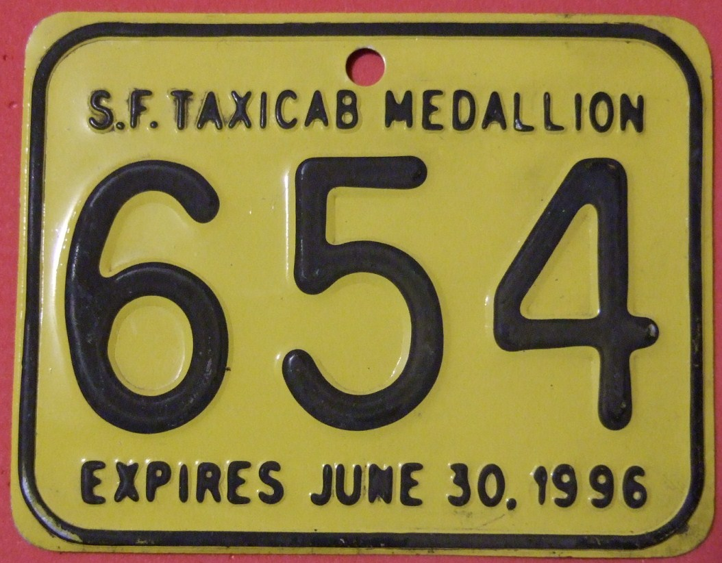 CALIFORNIA,<em>SAN_FRANCISCO_1996</em>-TAXI_MEDALLION_SUPPLEMENTAL_LICENSEPLATE_-_Flickr_-_woody1778a