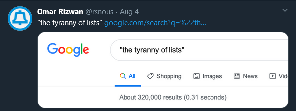 """A screenshot with a Google search of """"the tyranny of lists"""" with 320k results"""