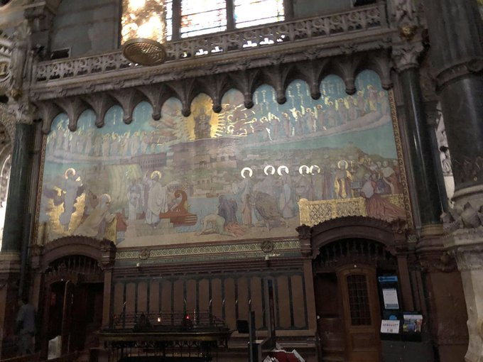 cathedral painting with gold halos