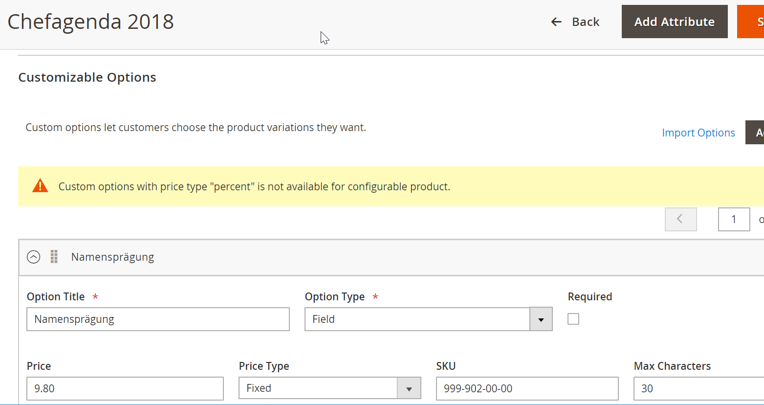 Configurable product - can not use custom options · Issue #2739