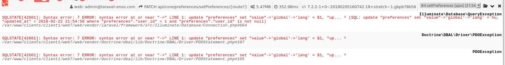 Updating JSON field in Postgresql, user's preferences · Issue #50