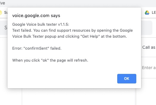 Text Failed Issue 104 Brismuth Google Voice Bulk Texter Github