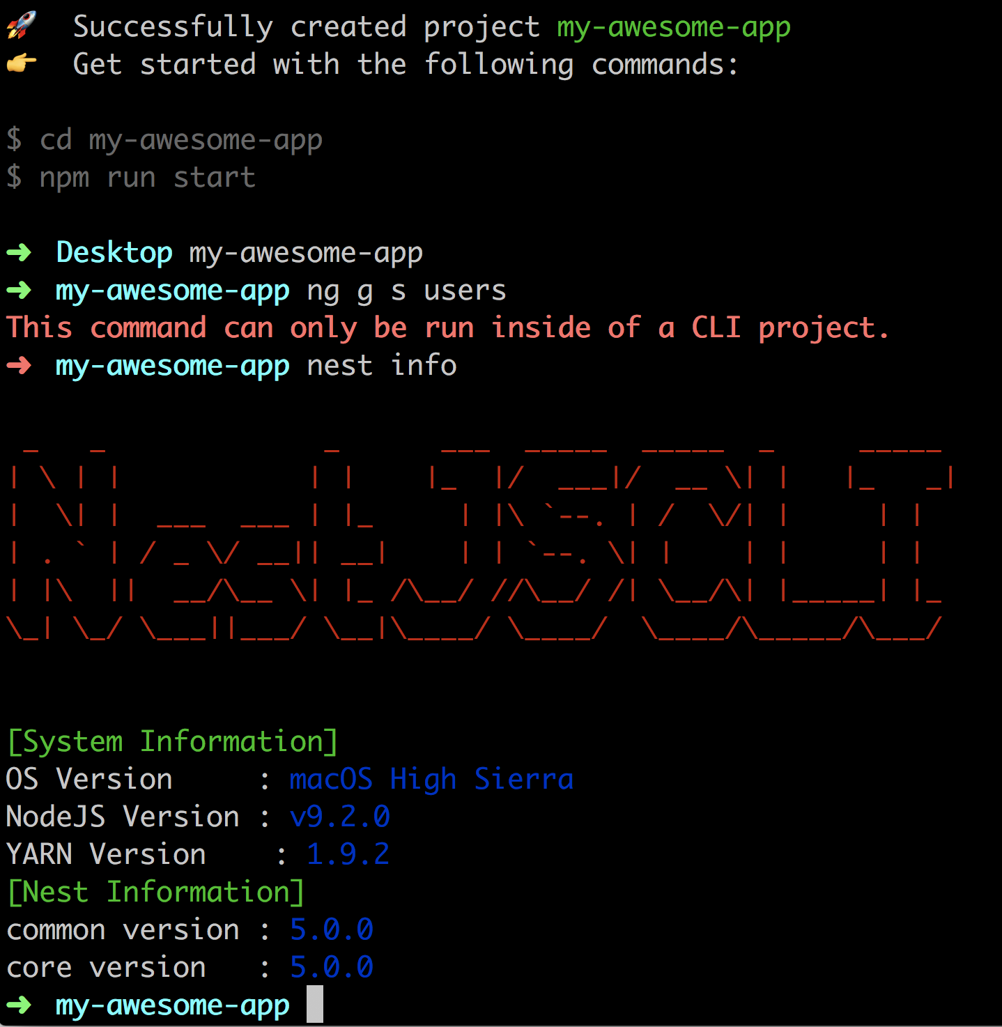 Inside Project error: this command can only be run inside of a cli project. · issue
